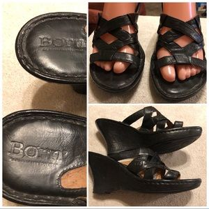 Born black leather wedge sandals size 8